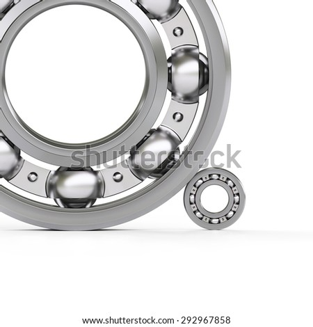 Ball bearings close-up isolated on white