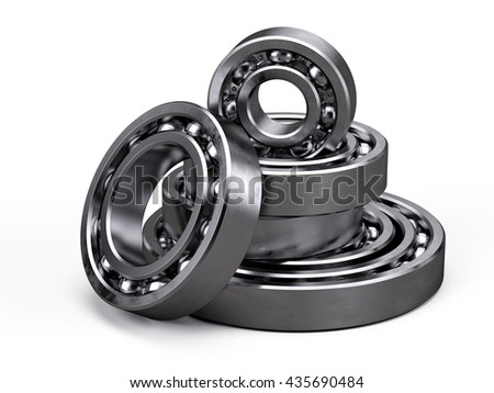 Ball bearings isolated on white. 3d render - stock photo