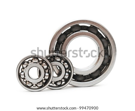 ball bearings on white background