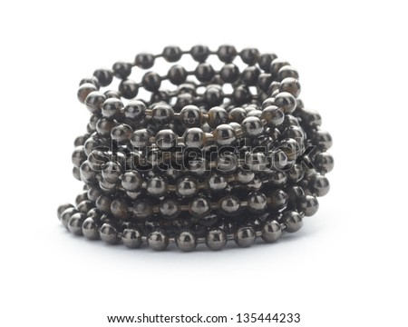 ball chain in spiral side view isolated on white