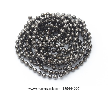 ball chain in spiral top view isolated on white