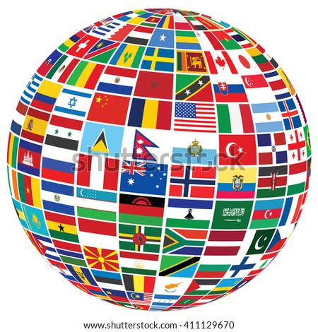 ball covered with world flags over white