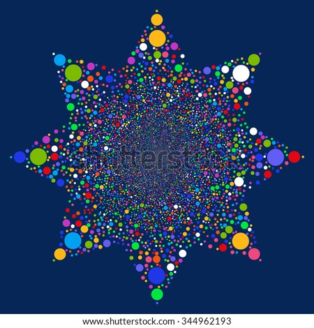 Ball Fireworks Flower glyph illustration. Style is bright multicolored flat balls, blue background.