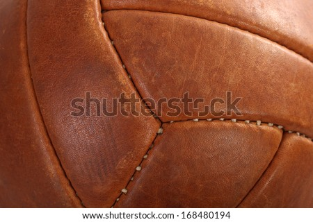 Ball football soccer leather brown vintage macro - stock photo