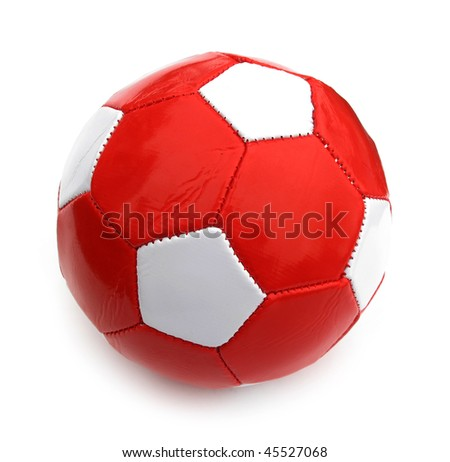 Ball football soccer red and white isolated on white