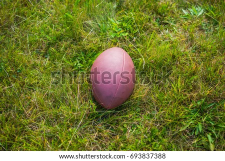 Ball for American football laying on the green grass
