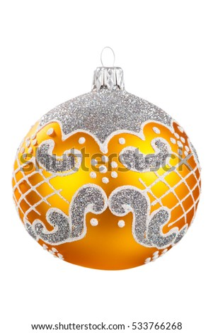 Ball for Christmas tree on white background
