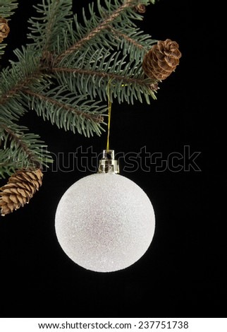 ball for Christmas with the branch of fir-tree on a black background - stock photo