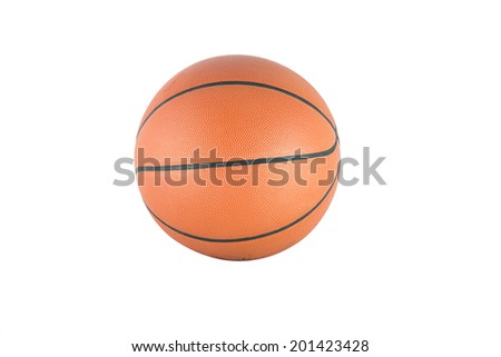 Ball for game in basketball, basket ball on white background - stock photo