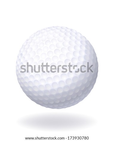 Ball for golf. Isolated on white background.  Raster version. - stock photo