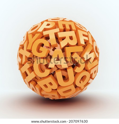 Ball from orange letters on white background. 3d render illustration - stock photo