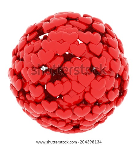 Ball from red hearts isolated on white - stock photo