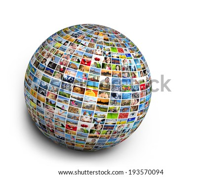 Ball, globe design element made of pictures, photographs of people, animals and places. Conceptual background