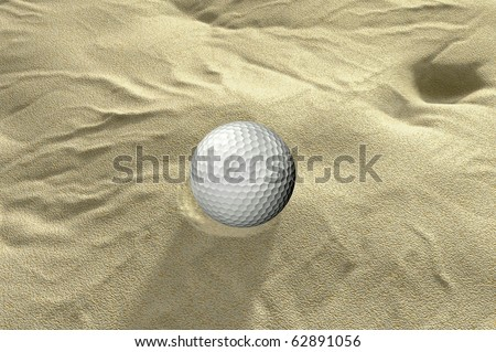 ball in sand trap 3d golf render - stock photo