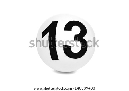 Ball lottery with number thirteen - stock photo