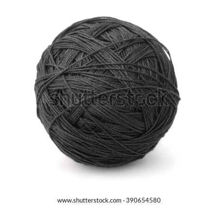 Ball of black heavy thread isolated on white - stock photo