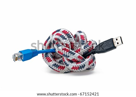 Ball of Brightly Multi Colored knot and Plugs - stock photo