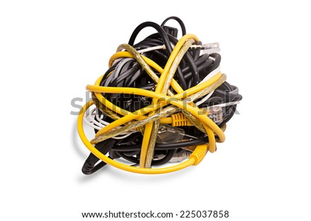 Ball of Brightly Multi Colored Network Cables and Plugs - stock photo