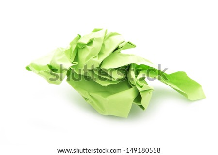 ball of crumpled paper isolated on white background - stock photo