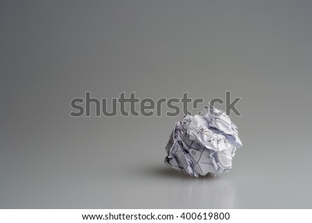 ball of crumpled paper, on white and round