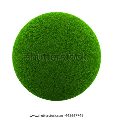 Ball of Green Grass Isolated on White Background 3D Illustration - stock photo