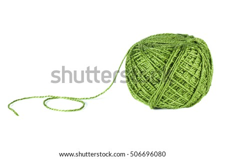 Ball of green woolen thread isolated on white background