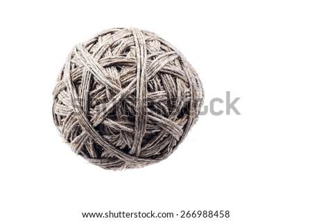 Ball of hemp rope isolated on white - stock photo