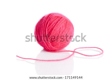 Ball of knitting yarn on a white background - stock photo
