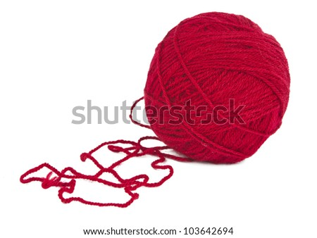 ball of red yarn is isolated on a white background