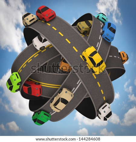 Ball of road asphalt with several cars. Concept of traffic in the world. - stock photo