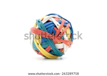 Ball of rubber bands on a white background - stock photo