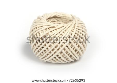 Ball of string, isolated on white. - stock photo