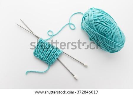 Ball Yarn Knitting Needles Fishermans Rib Stock Photo 372846019
