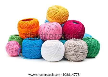 ball of yarn isolated on white background - stock photo