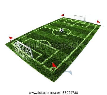 ball on the center of the football field isolated on the white background