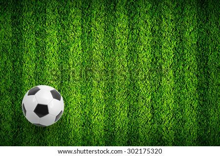 Ball on the football field stadium - stock photo