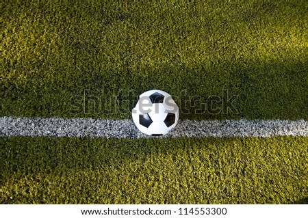 ball on white line of artificial grass  indoor football field