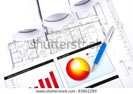 Ball pen, charts, documents, for business collage