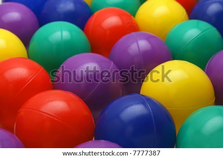 Ball pit balls with shallow depth of field - stock photo