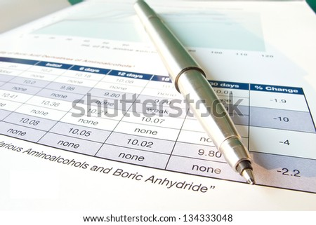 Ball point pen and data table paper sheet