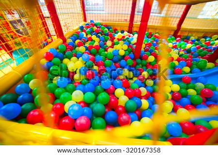 Ball pool in the children's playroom - stock photo