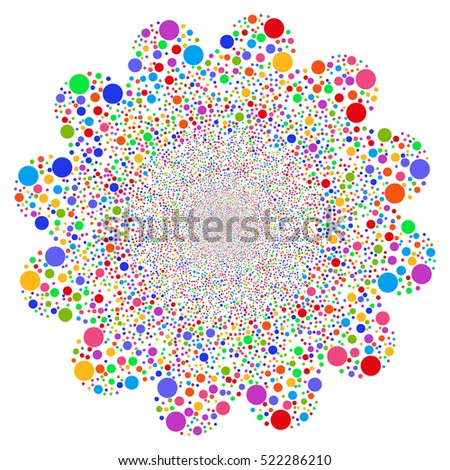 Ball Salute Flower raster image. Style is bright multicolored flat circles, white background.