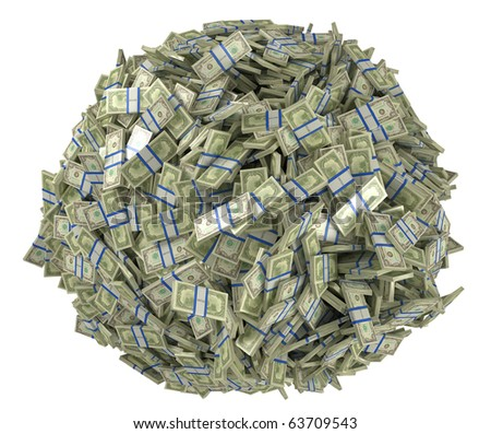 Ball shape assembled of US dollar bundles. Isolated over white - stock photo