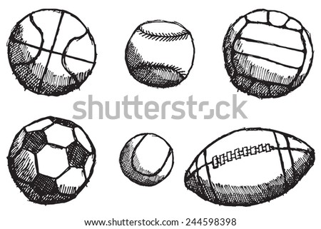 Ball sketch set with shadow isolated on white background.