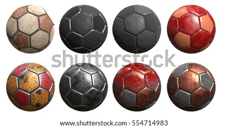 ball soccer old 3d rendering different materials