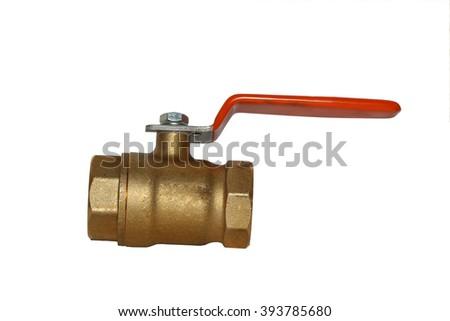 Ball valve brass on white background - stock photo