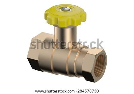 ball valve isolated on white background - stock photo