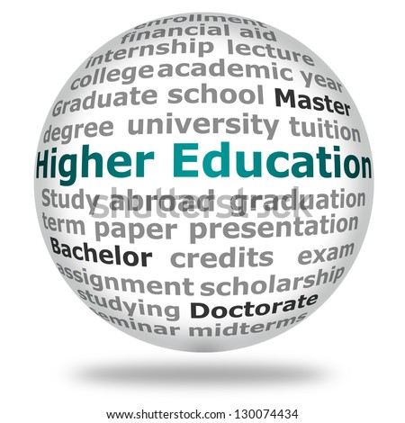 Ball with different terms relating to higher education - stock photo