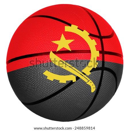 Ball with flag of Angola for basketball game - stock photo