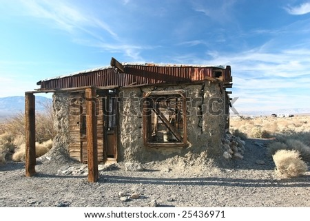 Ballarat is a ghost town in Inyo County, California that was founded in 1896 as a supply point for the mines in the canyons of the Panamint Range. - stock photo